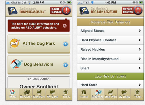 Screenshots from the Dog Park Assistant App